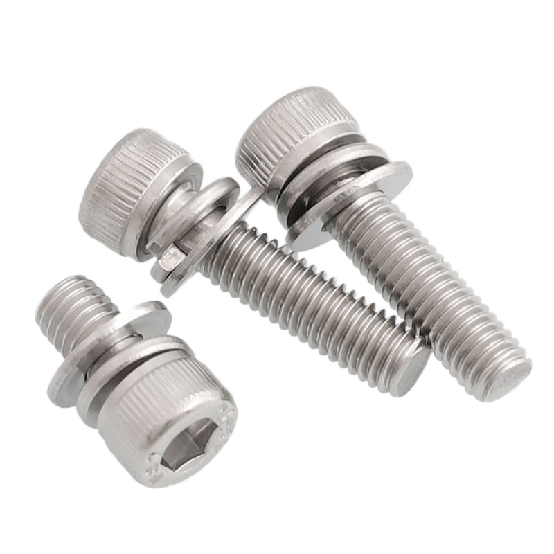 30pcs Hex Bolt Set <font><b>M4</b></font> M5 M6 Allen Socket Screws DIN912 Flat Spring Washer Gasket 304 Stainless Steel 10set L=10-30mm 16mm <font><b>20mm</b></font> image