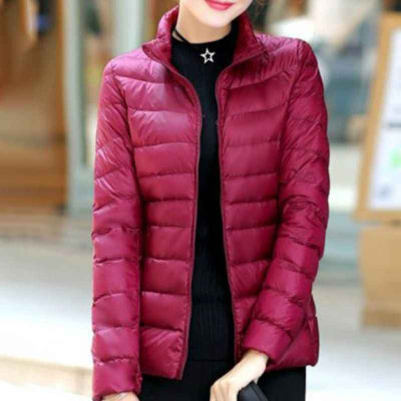 Z 2019 סתיו חורף מעיל נשים ארוך שרוולים כותנה צווארון עומד מעיל כותנה מוצק צבע מזדמן קצר אור למטה רוכסן מעיל
