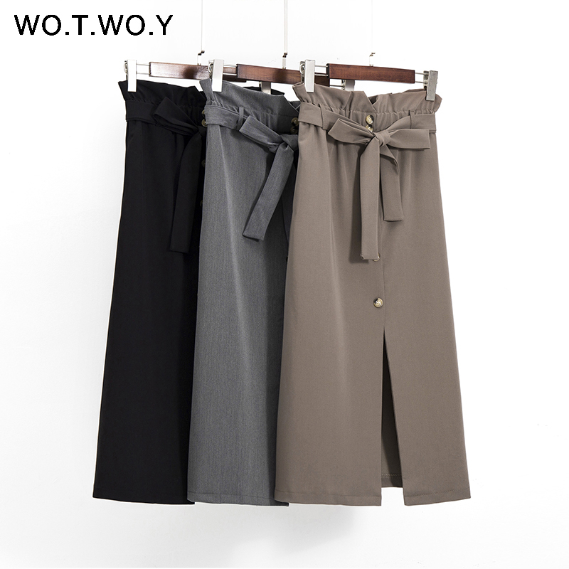 WOTWOY Spring Summer Casual High Waist Skirts Women Sashes Solid Midi Skirt Women 2020 Buttons-Up Black Long Skirts Femme Jupe