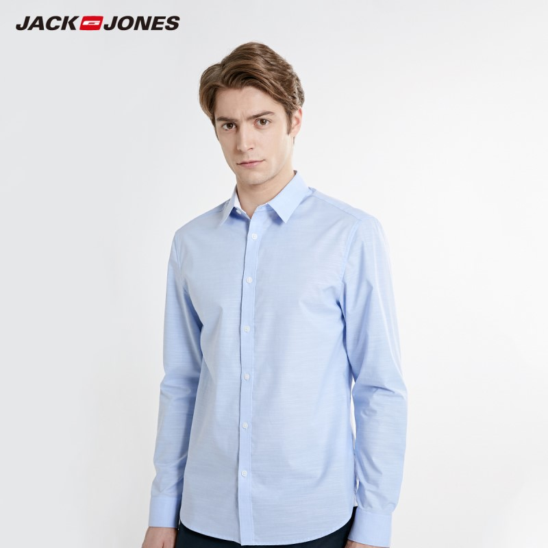 JackJones Men's Stretch Cotton Easy Iron Fabric Long-sleeve Shirt Basic Menswear 219105530
