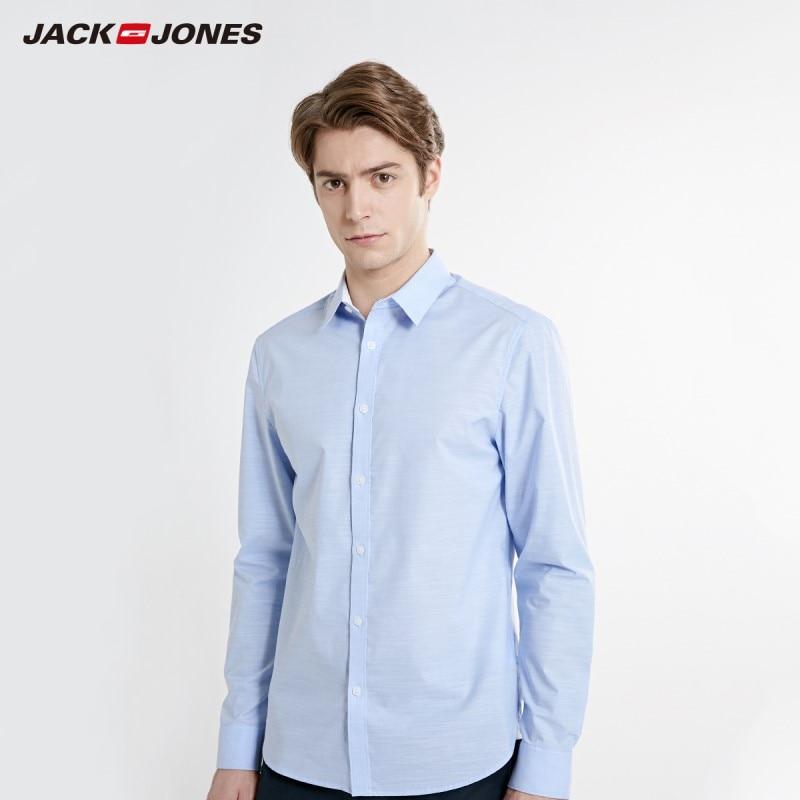JackJones Men's Stretch Cotton Easy Iron Fabric Long-sleeve Shirt Basic Menswear 219105530
