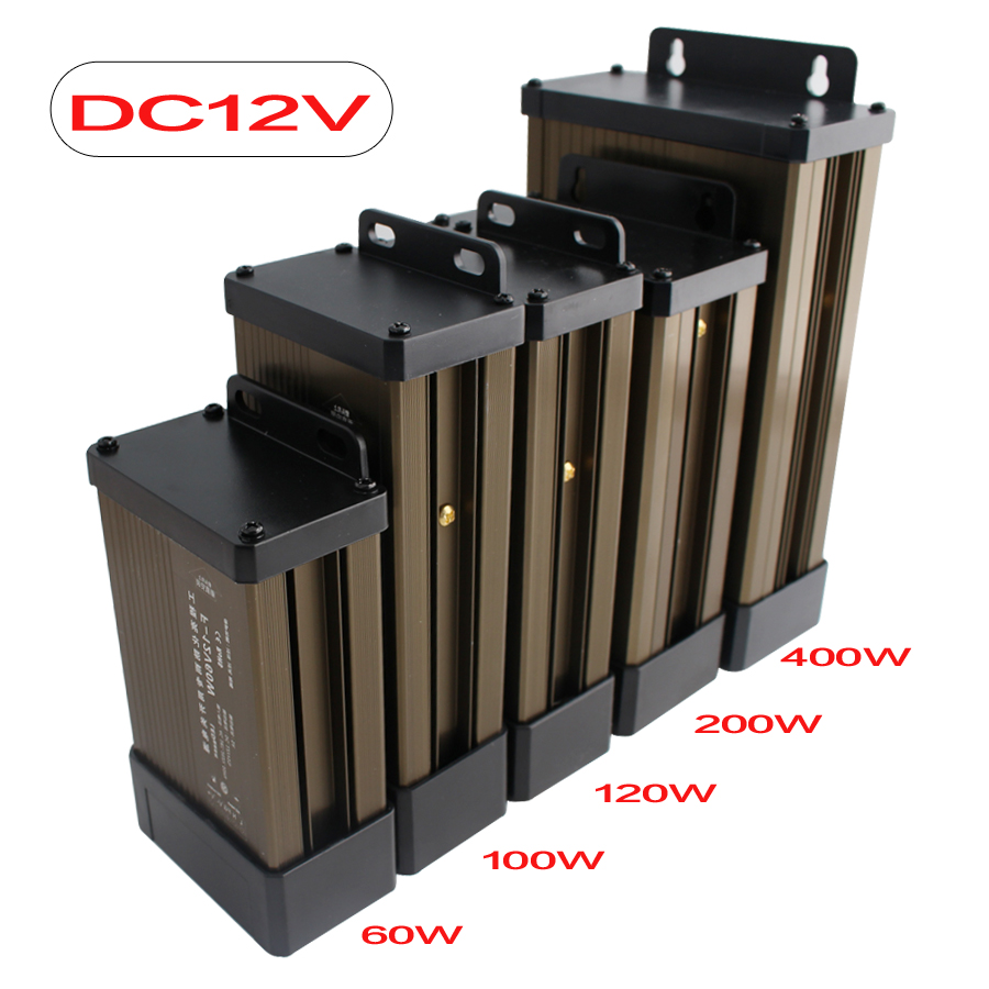 12V 24V Lighting Transformers 220V Rainproof Power Supply 12 24 V 100W 500W LED Driver DC Adapter Lighting Transformers Outdoor