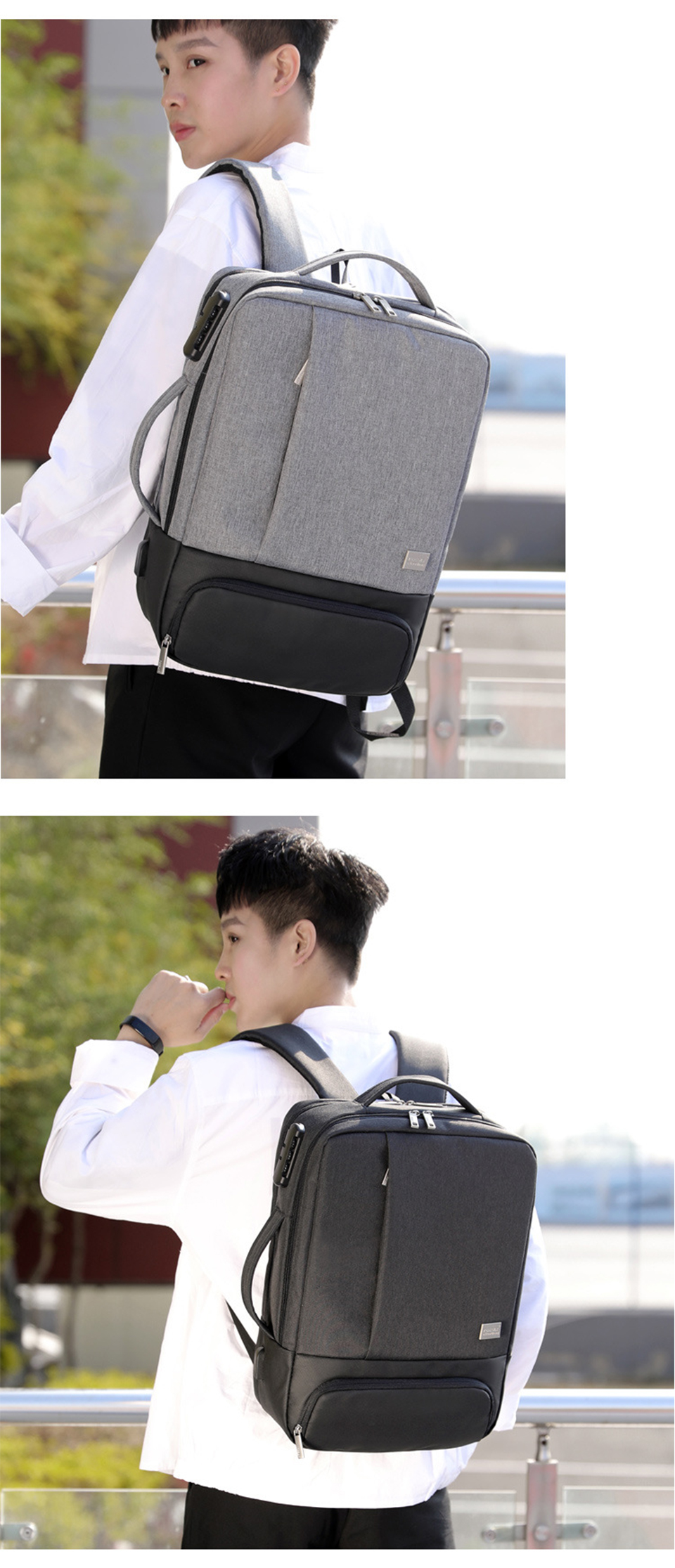 Mens Backpack Laptop Backpacks 17 Inch 15.6'' Anti Theft Male Business Bags Notebook Trip Back Pack Office Women Travel Bagpack (22)