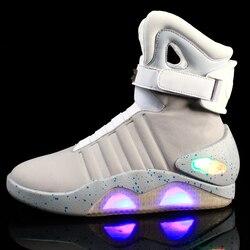 7ipupas جديد الرجال الأحذية USB قابلة للشحن متوهجة حذاء رياضة الهواء ماج للرجال النساء أحذية الحفلات العودة إلى المستقبل الأحذية