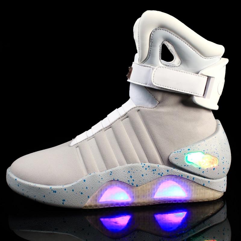 7ipupas novos homens botas usb recarregável brilhante sneaker air mag botas para homem mulher sapatos de festa de volta ao futuro botas