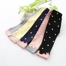 Весенне-осенние новые штаны для маленьких девочек, вязаные штаны в горошек для новорожденных, леггинсы для малышей, От 0 до 2 лет штаны для малышей