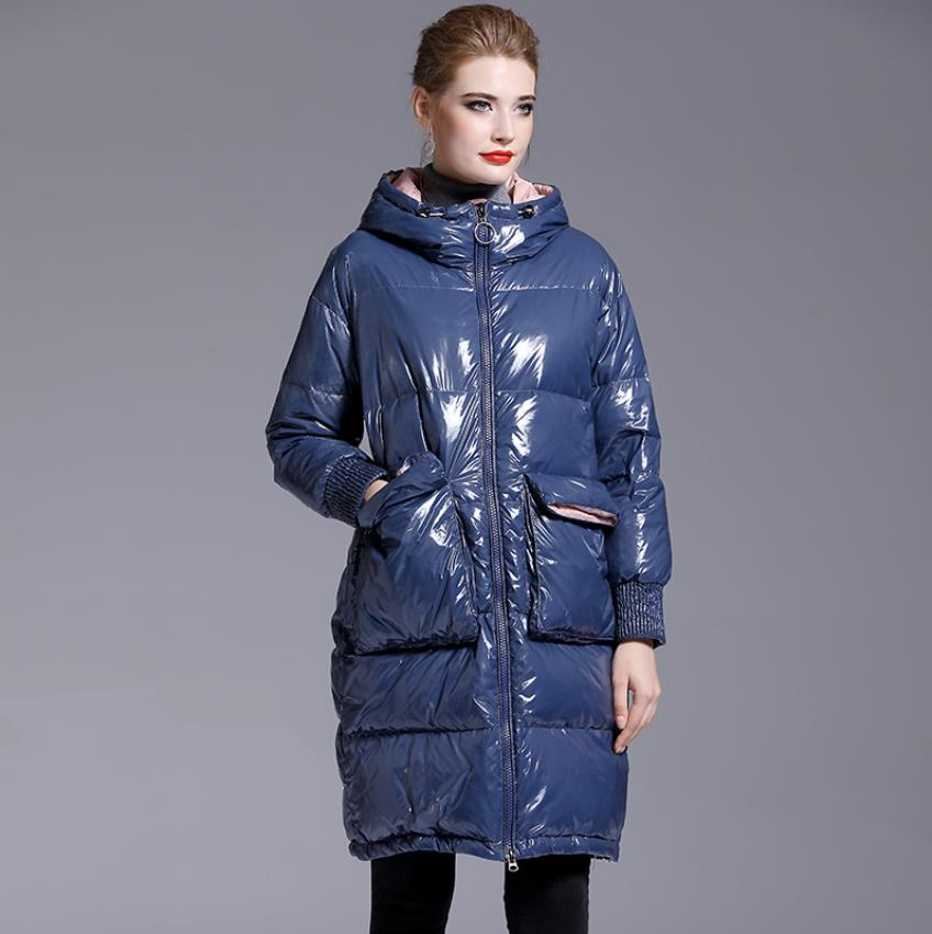 Winter glossy fabric bread style hooded thicker warm big pockets duck   down   parkas female oversized fluffy duck   down     coat   F270