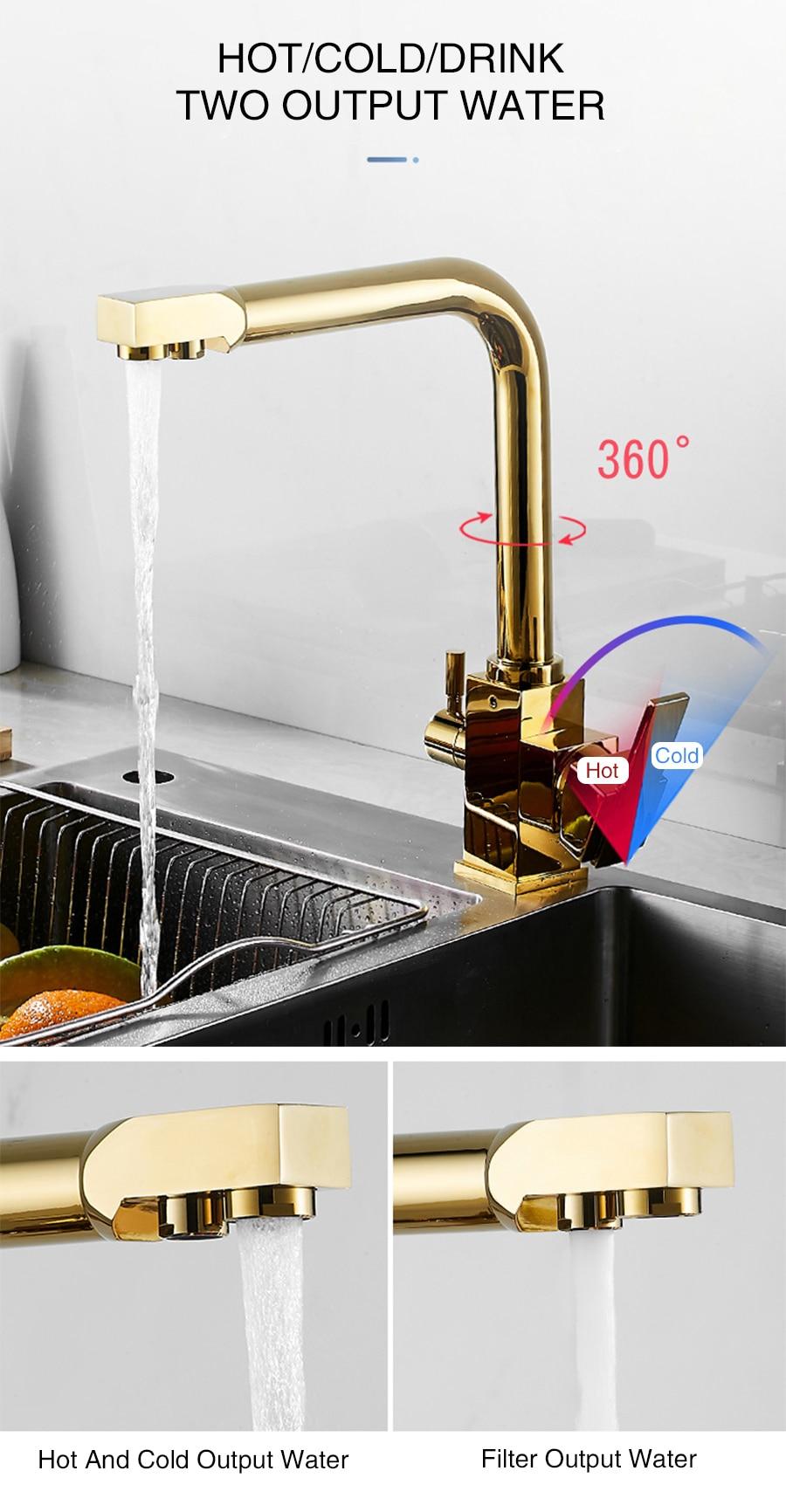 Rotação Quente E Fria Misturador de Água da Cozinha Filtro de Torneira