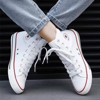 Wysokie buty płócienne męskie trampki klasyczne buty płócienne mieszkania Wome wulkanizowane damskie klasyczne trampki 2020 jesienne modne buty tanie i dobre opinie ALIJUTOU Płótno Przypadkowi buty RUBBER Gumką Pasuje prawda na wymiar weź swój normalny rozmiar Mokasyny Wiosna jesień