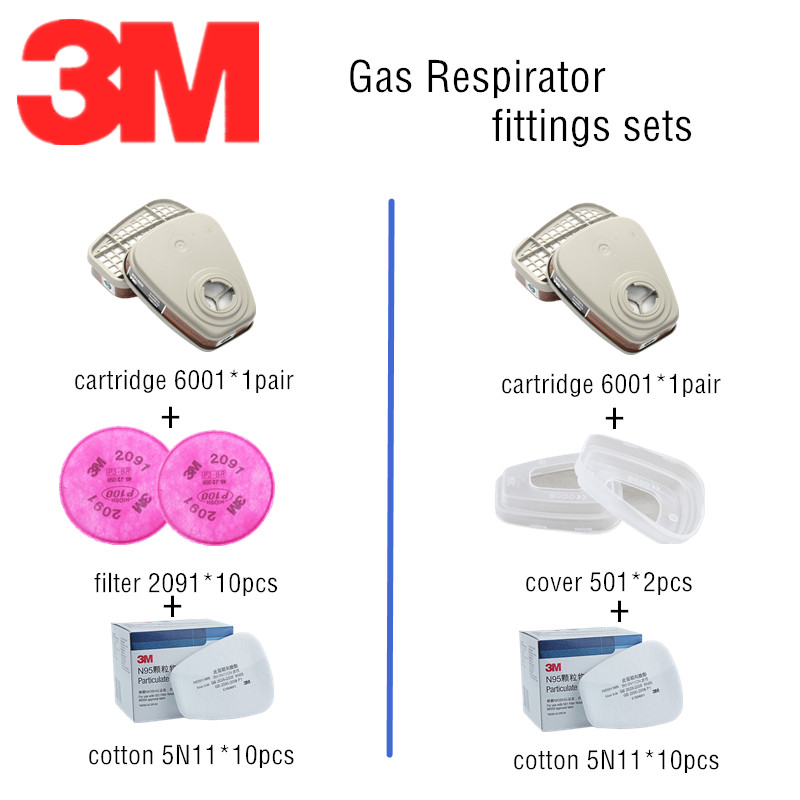 3M Gas Mask Replace Accessories Combination 6001 Carbon Cartridge 501 Filter Cover 2091 Particulate Filter 5N11 Filter Cotton