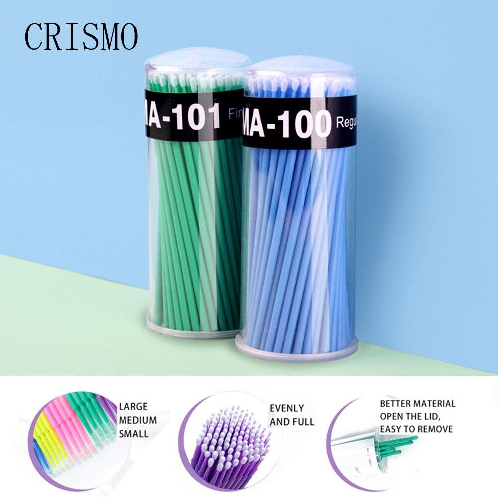 CRISMO 100pcs Disposable Micro Eyelash Brushes Mascara Applicator Wands Lashes Brushes Spoolers EyeLashes Extension Makeup Tools