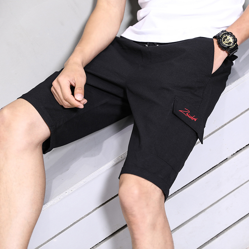 Embroidery Letter Shorts Men 2020 Summer Compression Shorts Homme Polyester Beach Shorts Male Soild Knee Length Short Pant M-4XL