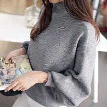 Женский зимний свитер, Женский вязаный свитер с рукавом-фонариком, джемпер свободного кроя с высоким воротом, женская верхняя одежда с высоким воротом, топ, блузка