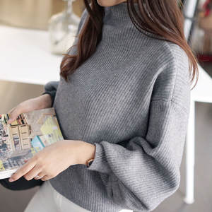 Knit Sweater Blouse Outwear Jumper Lantern-Sleeve Womens Turtleneck Loose High-Neck Top