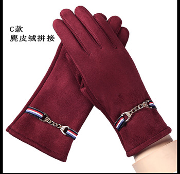 Winter Chamois Velvet Patchwork  Gloves Plus Velvet Thicken Riding Touch Screen Mittens Women Keep Warm Glove  Accessories-kh women winter touch screen gloves frill trim plus velvet faux leather mittens b95f