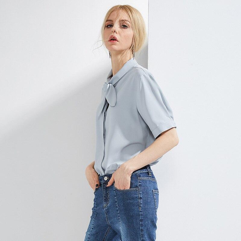 Mousseline De soie Blouse dames arc col à manches courtes 2019 été nouveau loisirs Blusas Mujer De Moda 2018 blanc bleu et Violet couleur