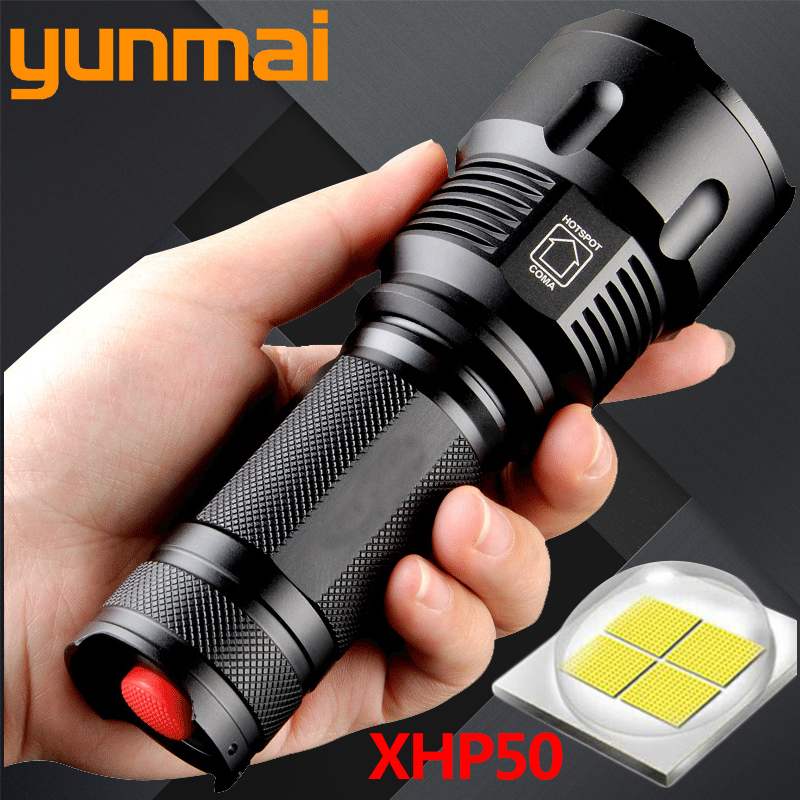 XHP50 1006 Powful Cree LED Flashlight Torch Waterproof Zoomable Portable Camping Light Power 26650 18650 AA battery image
