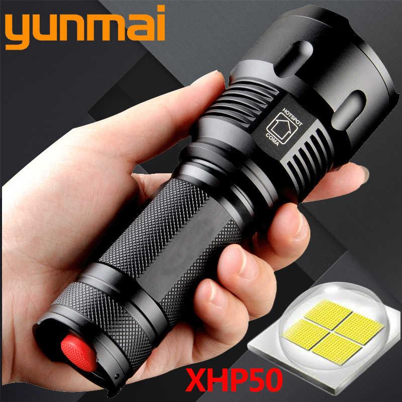 Xhp50 1006 powful cree led lanterna tocha à prova dwaterproof água zoomable portátil acampamento luz de energia 26650 18650 aa bateria