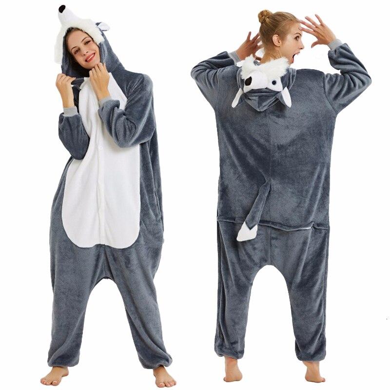 Image 5 - Пижамы кигуруми с животными для женщин и мужчин, зимние фланелевые пижамы единорог, собака, панда, Лев, Комбинезоны для взрослых, теплая одежда для сна     АлиЭкспресс