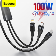 "Baseus פ""ד 100W USB סוג C כבל עבור iPhone 12 פרו מקס 5A מהיר טעינה עבור Xiaomi 11 Samsung 2 ב 1 USBC טלפון מטען תאריך כבל"