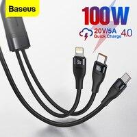 Baseus-Cable USB tipo C de carga rápida para móvil, 2 en 1 cargador de teléfono, PD, 100W, para iPhone 12 Pro Max 5A, Xiaomi 11, Samsung