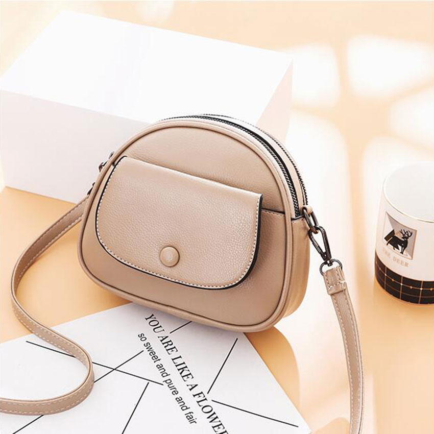 Small Women Leather Messenger Bag Saddle Double Pocket Ladies Daily Shopper Office Crossbody Bag Shoulder Bag Handbag Purses