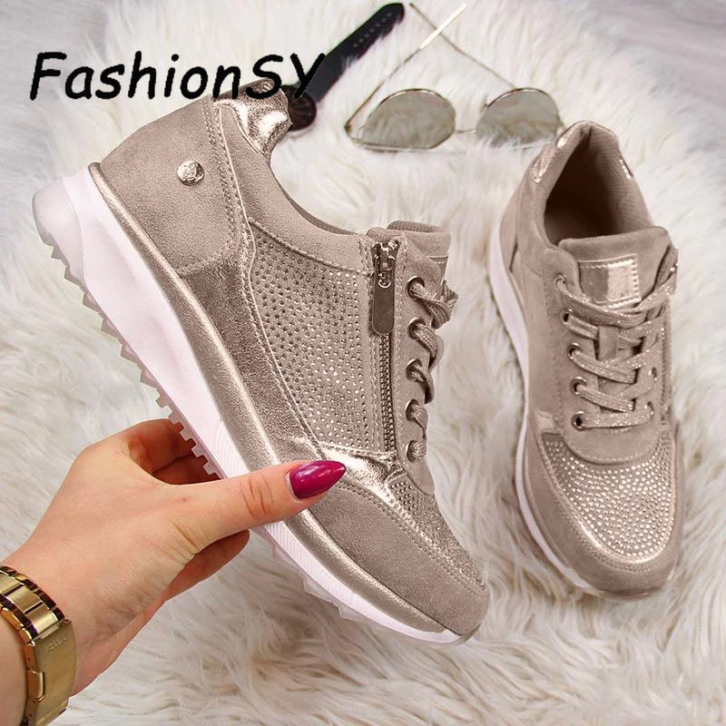 Women Wedges Sneakers Women Vulcanize Shoes Lace Up Sequins Shake Shoes Fashion Girls Sport Shoes Woman Sneakers Shoes Footwear