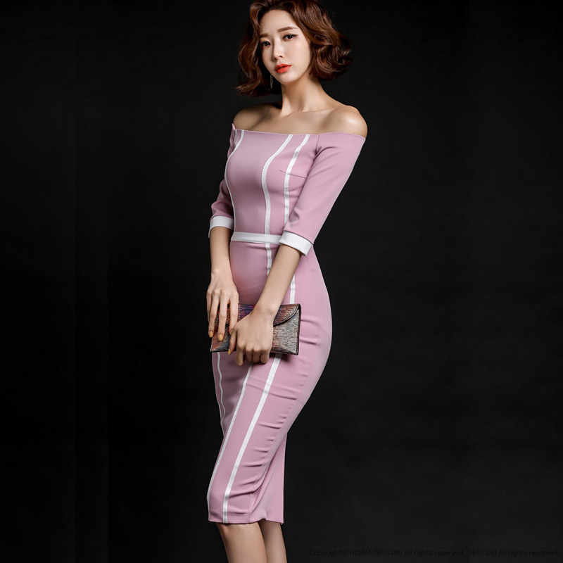 משלוח חינם גבוהה באיכות סלאש צווארון חצי שרוול Slim סקסי נשים שמלה