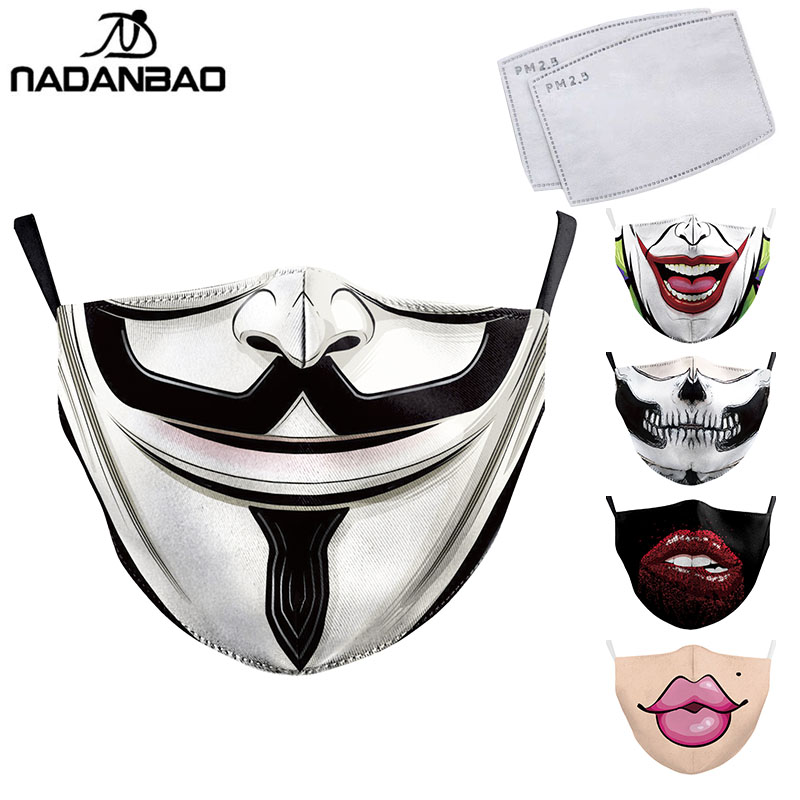 NADANBAO Adult Big Mouth 3D Printed Face Fabric Masks La Casa De PapelSkull Reusable Protection Dust Washable Masks Proof  Mask