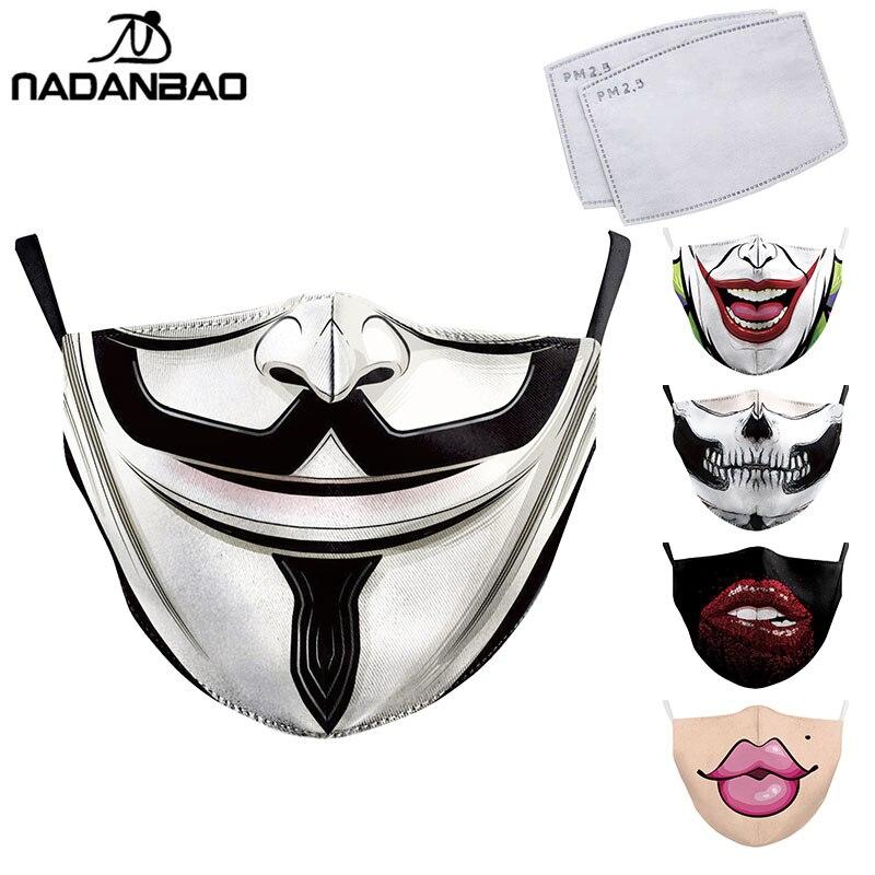NADANBAO Тканевые Маски для взрослых с объемным принтом в виде большого рта La casa de papelSkull многоразовая защита от пыли моющиеся маски|Женские маски|   | АлиЭкспресс