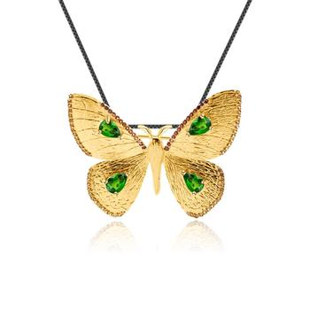 GEM'S BALLET Natural Chrome Diopside Gemstone Brooch Pendant for Women 925 Sterling Silver Gold Plated Butterfly Fine Jewelry