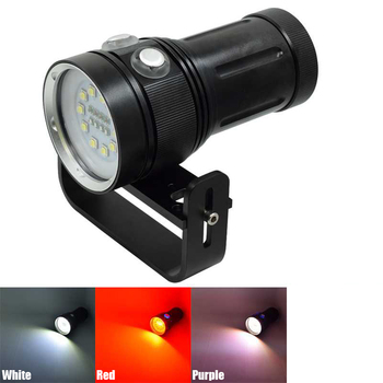 New 10* L2+4*Red+4*UV/Purple Light Dive Torch Underwater Photography Video Fill Light Diving Flashlight 7 Modes Hunting Lanterna