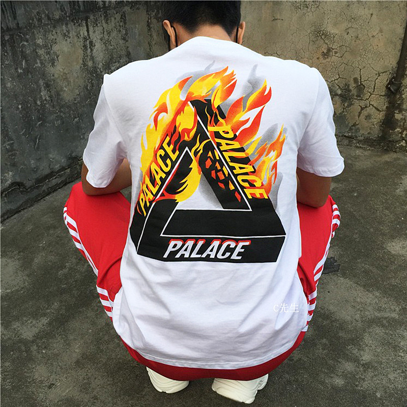 MEN'S WEAR Popular Brand American-Style Hip Hop Skateboard Europe And America Palace Flame Triangular Printed Pure Cotton Short-