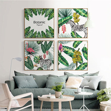 Nordic Art Animals zebra Deer Plant Tropical Leaf Painting Canvas Poster A4 Wall Picture Modern Home Living Room Decoration  - buy with discount