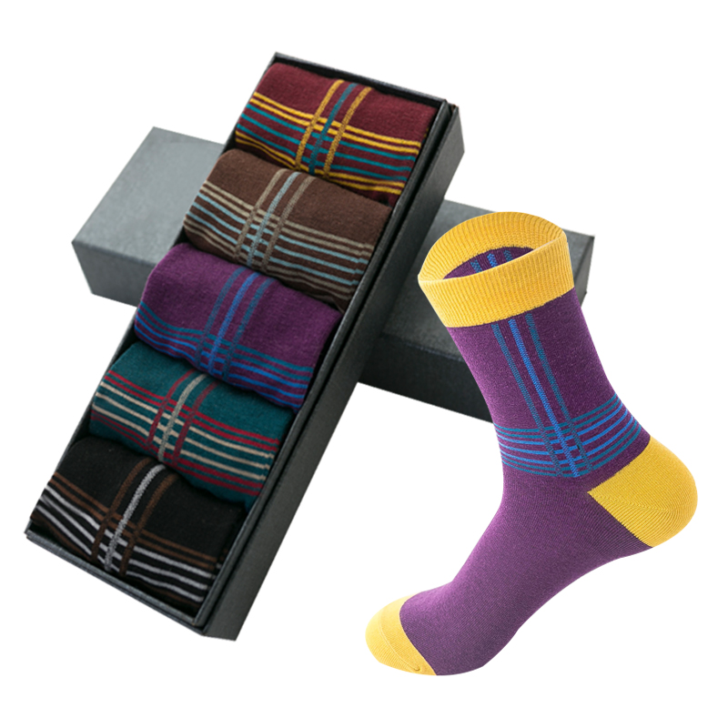 5 Pairs/lot Brand Men Colorful Socks Meias Male Socks Cotton Fashion High Quality Mens Dress Socks For Gifts 2020 EUR Size 38-44