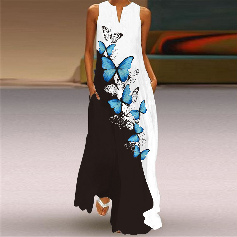 Платье 2021 Модный стильный белый длинное платье для женщин сезона весна-осень с принтом без рукавов в стиле ретро Элегантные повседневные пл...