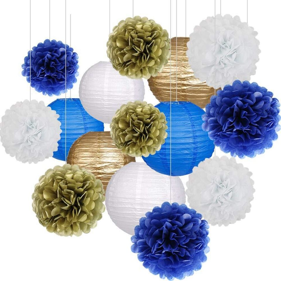 BLUE 3x Mixed PKT Hanging Honeycomb Balls Pompoms For Birthdays,Garden Party