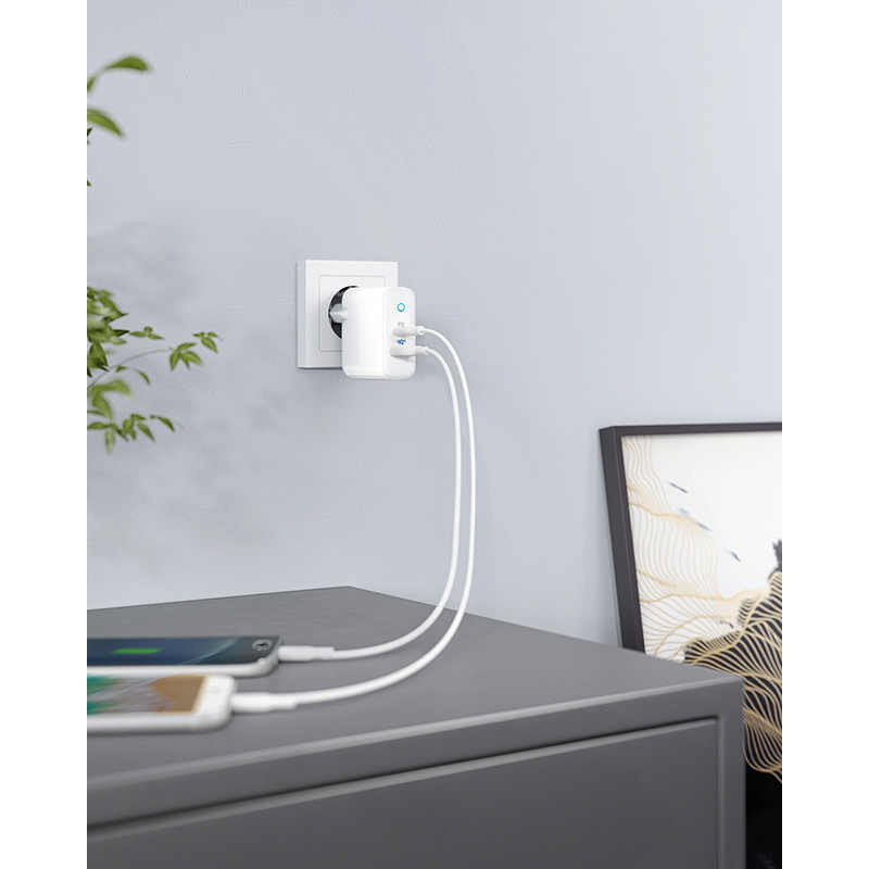 Anker 2-Port USB Tipe C Dinding Charger dengan 18W Power Pengiriman dan 12W Poweriq, powerport PD 2, Indikator LED untuk iPhone, iPad Dll