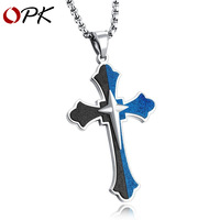 OPK European and American Stainless Steel Jesus Necklace Retro polished Titanium Steel Cross Men's Hanging Jewelry