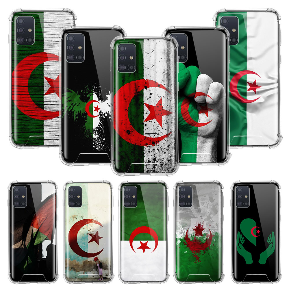 Algeria Flag <font><b>Case</b></font> For <font><b>Samsung</b></font> Galaxy A51A71 A01 A21 A81 A91 A50 <font><b>A70</b></font> S20 Clear Phone Coque Airbag Anti Fall image