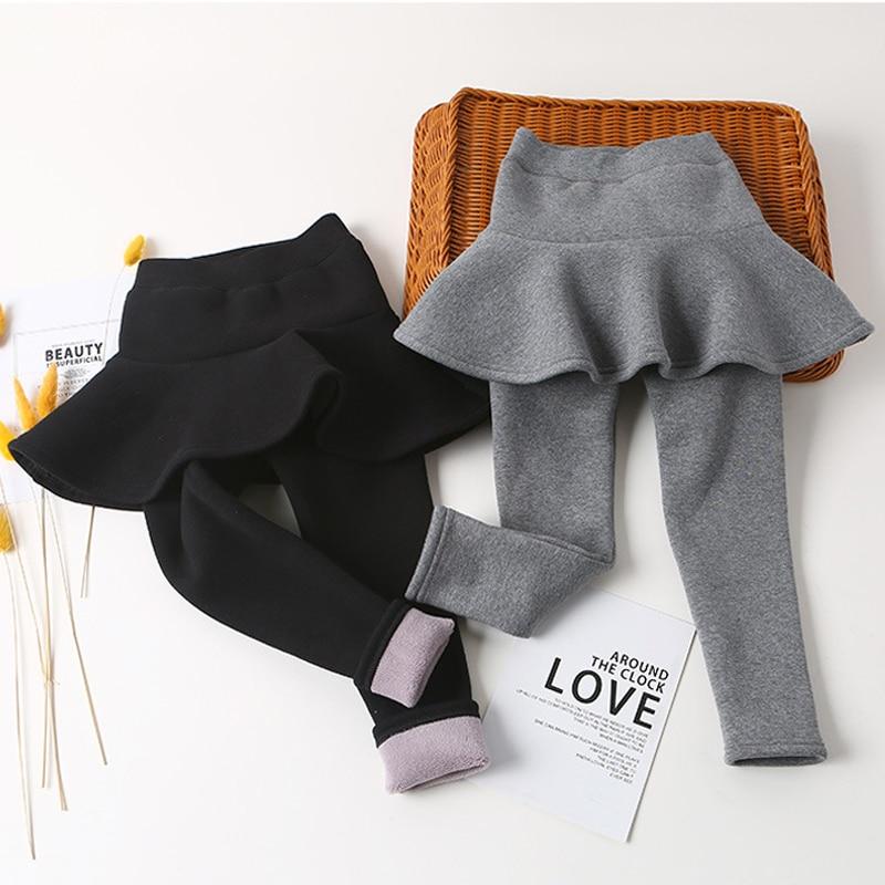 2020 New Winter Girls Skirt Pants Girls Plus Velvet Thicker Pant Two False Skirt-pants Children's Velvet Leggings Girls Bootcut 1