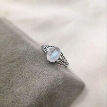 7 มม.x 9 มม.มูนสโตนธรรมชาติ 925 เงินสเตอร์ลิง Hollow แหวนอินฟินิตี้หมั้นแต่งงาน Vintage เครื่องประดับนิ้วมือ bague