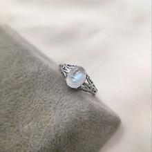 7mm x 9mm naturalny kamień księżycowy 925 Sterling Silver Hollow nieskończoność pierścionki dla kobiet ślub zaręczyny biżuteria w stylu Vintage palec Bague
