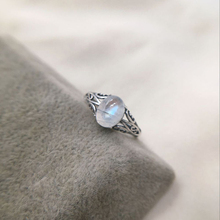 7mmx9mm Natural Moonstone 925 Sterling Silver Hollow Infinity Rings For Women Wedding Engagement Vintage Jewelry Finger Bague