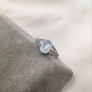 Image 1 - 7mmx9mm Natural Moonstone 925 Sterling Silver Hollow Infinity Rings For Women Wedding Engagement Vintage Jewelry Finger Bague