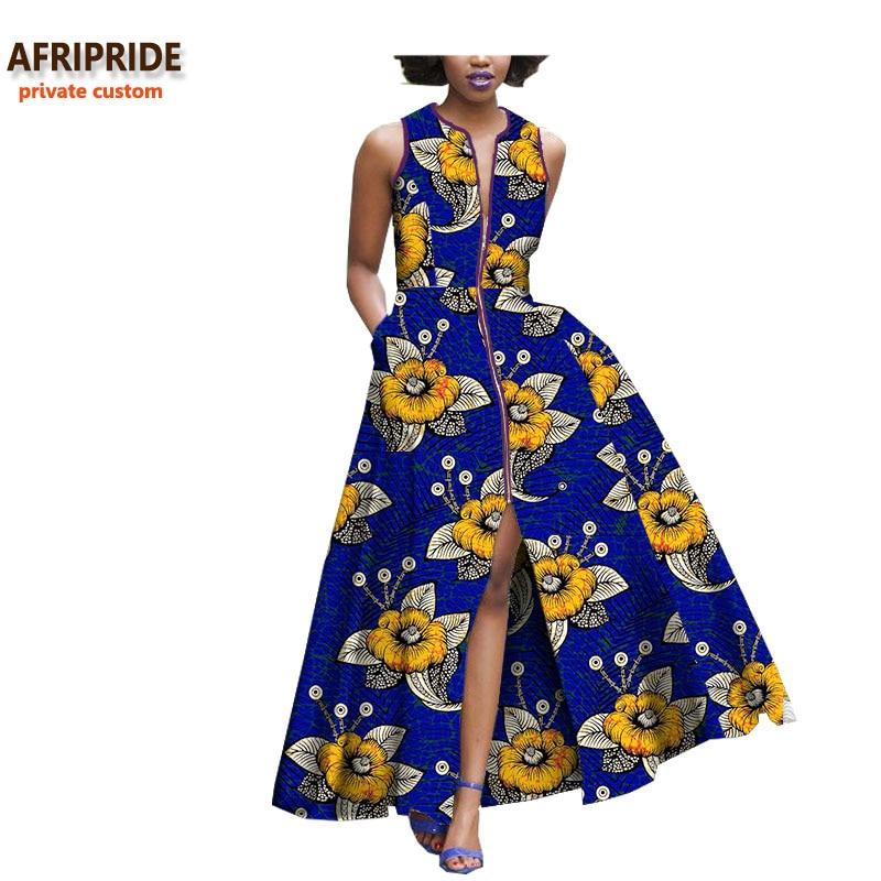 2018 보헤미안 스타일 여성 드레스 afripride 개인 맞춤 아프리카 민소매 발목 길이 지퍼 드레스 100% 순수 코튼 a722590-에서드레스부터 여성 의류 의  그룹 2