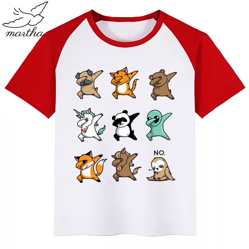 Dabbing <font><b>Animal</b></font> Children <font><b>Baby</b></font> Boy Kids T Shirt Fashion Cartoon Short Sleeve T-shirt Clothes Funny Girls <font><b>Tshirt</b></font> Casual Tee Tops image