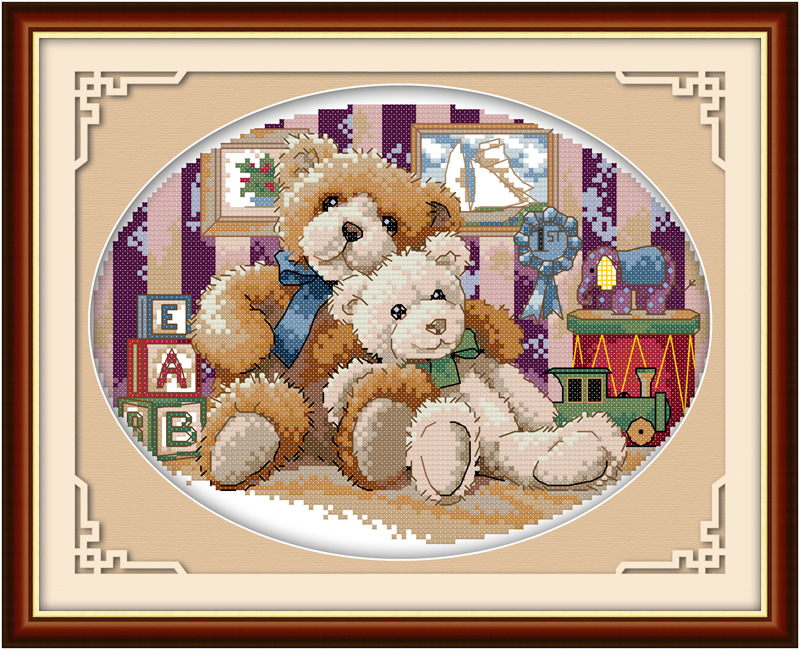 Happy Bear family the teddy bear DMC Frabric DIY handwork Embroidery Chinese Cross Stitch Kits Cross stitch set Needlework in Package from Home Garden