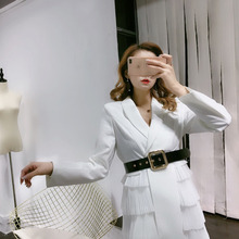 Long Style Tied Waist Slim Chiffon Cake Stitching Windbreaker Dress 2019 Notched Knee-Length Sashes Sexy Dress Women все цены