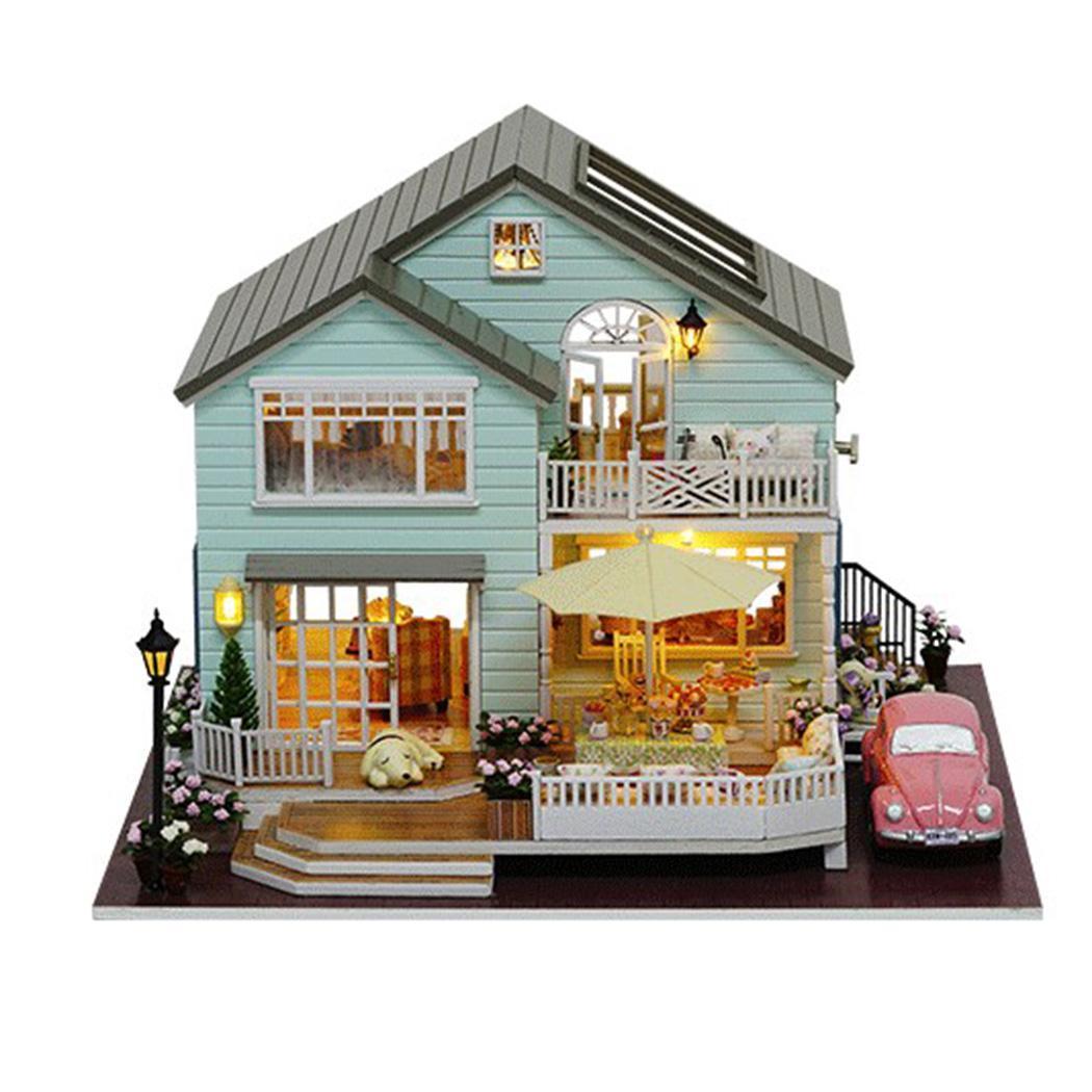 Miniature assemblé à la main en bois bricolage maison de poupée décorations, cadeaux, Placement à la maison, Collection environ 4 jours